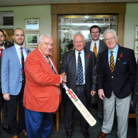 Left to Right; Robin Matthews (Ex Leicester CCC), Steven Crook (Northants CCC), Stephen Peters (Northants CCC), Michael Savage, Clive Radley MBE (Ex England cricketer), Alex Wakely (Northants Captain), Laurie Johnson (Ex Northants CCC), Barry Dudleston (Ex Leicester CCC).